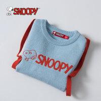 snoopy史努比童装2017冬季男童卡通个性中大童保暖圆领套头针织