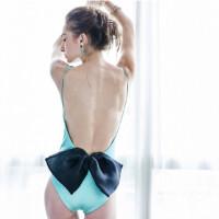 欧美高端个性露背蝴蝶结三角连体泳衣比基尼温泉BIKINI女 图片色