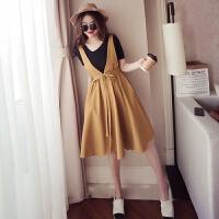 大码女装夏季胖mm2018新款两件套装微胖妹妹藏肉遮肚子显瘦连衣裙