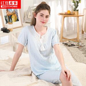 红豆居家睡衣女秋季新款纯棉长袖圆领套头卡通字母可外穿家居服套装 豆沙