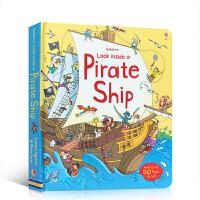 【全店300减100】英文原版 Usborne:Look Inside Pirate Ship 看里面系列 揭秘海盗船
