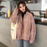 2018流行格子呢子大衣秋冬新款韩版宽松短款森系毛呢小外套女学生 均码