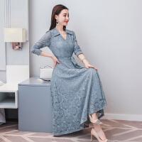 春季长款蕾丝连衣裙女长袖显瘦2018新款韩版时尚打底过膝裙