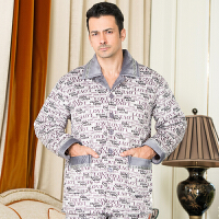 中老年夹棉纯棉睡衣男士季三层加厚珊瑚绒保暖棉袄全棉睡衣套装 X