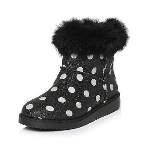 Teenmix/天美意专柜同款闪光白点布/兔毛皮女短靴AM14HDD5