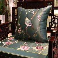 新中式抱枕刺绣鸟语花香古典沙发靠垫套床头软包大靠背枕含芯 60*60 (枕套+内芯)