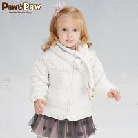 【3件3折 到手价:239】Pawinpaw卡通小熊童装新款冬女宝宝保暖围巾棉服婴幼儿外套
