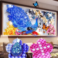 5D异形钻石画花开富贵孔雀满钻客厅点贴钻石十字绣家和砖石秀