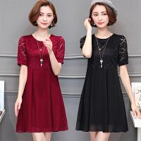 妈妈装夏装雪纺连衣裙40-50岁上衣 中年女装夏季短袖中长款裙子