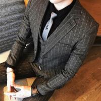 新款潮条纹西装套装时尚单排扣男士工装英式绅士夜场修身小西服三