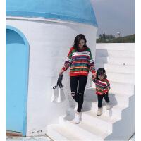 婴童亲子装条纹毛衣韩版显瘦针织衫冬装新款母女装女宝宝 条纹