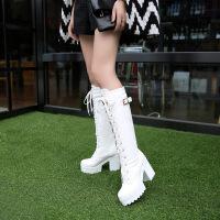 彼艾2017秋冬新款高跟马丁靴女英伦风粗跟厚底高筒机车靴防水台系带骑士长筒靴女靴子