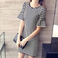 【支持礼品卡支付】t恤裙中长款新款韩版修身显瘦荷叶袖短袖女式T恤条纹连衣裙 17XHJ5053#