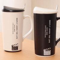 简约黑白情侣对杯陶瓷杯子一对马克杯带盖勺子咖啡杯奶茶杯牛奶杯