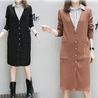 2018秋装新款大码女装中长款外套外搭子胖妹妹200斤针织长袖开衫