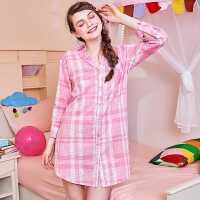 润微睡衣女优雅格纹衬衫裙家居服时尚气质舒适可外穿睡裙家居服