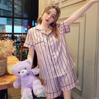 韩版时尚2018春夏装条纹短袖睡衣+发箍+短裤套装学生家居服三件套