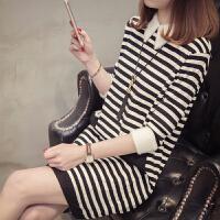女士毛衣春装2018新款女韩版中长款方领打底衫长袖毛衣裙冬时尚潮