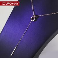 镀彩金18k玫瑰金项链 女毛衣链短款简约装饰双环吊坠配饰品