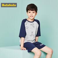 巴拉巴拉童装男童儿童睡衣春夏2018新款中大童睡衣套装学生家居服