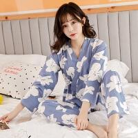 和服睡衣女秋季 韩版套装纯棉长袖甜美日式 宽松家居服2017新款
