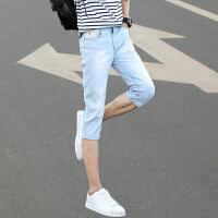 牛仔短裤男士夏季薄款潮流中裤学生