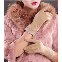 韩版秋冬薄款女士羊毛手套可爱保暖全指蕾丝手套