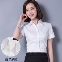 20180827080521926白短袖衬衫 女职业OL女装正装2018夏季新款白色棉衬衣工装工作服 白色 白色V领短