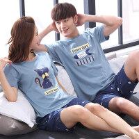 2套价 韩版夏季短袖情侣睡衣纯棉大码卡通男女士全棉家居服套装