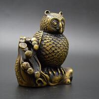 古玩杂项文玩摆件 黄铜猫头鹰书房家居装饰品摆件铜工艺礼品