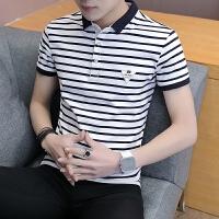 夏季男士短袖t恤小翻领条纹polo衫男修身潮流半袖衬衫领体恤男装