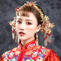 中式复古新娘头饰结婚金色中式古装凤冠流苏发簪古风秀禾礼服发饰