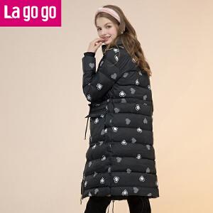 lagogo拉谷谷2016冬季女装新款直筒中长款羽绒服韩版潮女加厚外套