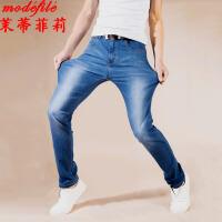 茉蒂菲莉 牛仔裤 男士中腰直筒春秋新款韩版男装纯色休闲弹力修身学生时尚百搭潮男式长裤子