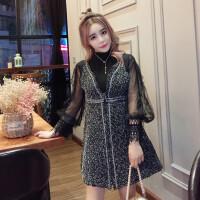 2018春季新款韩版半高领网纱灯笼袖打底衫+无袖吊带连衣裙套装女
