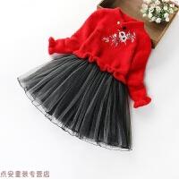 圣诞童装女童冬装裙子儿童毛衣连衣裙加绒加厚复古绣花唐装旗袍裙 红色 6069旗袍裙