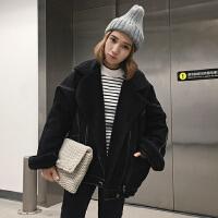 冬季女装韩版宽松短款牛仔外套加绒加厚保暖羊羔毛棉衣学生潮