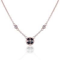 ?项链女锁骨链欧美时尚幸运四叶草玫瑰金水晶吊坠时尚简约百搭颈链