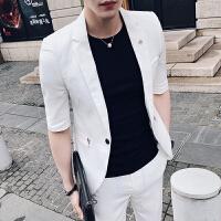 夏季潮流中袖西服男套装修身韩版发型师休闲七分短袖小西装两件套