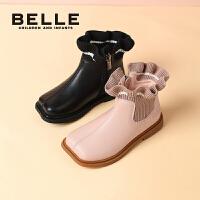 【券后价:158.8元】百丽童鞋女童靴子冬季加绒短靴2021年新款宝宝靴公主靴儿童马丁靴