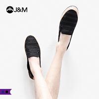 jm快乐玛丽男鞋2019春季新款平底条纹套脚一脚蹬渔夫鞋帆布鞋