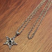 毛衣链男女嘻哈项链潮人个性长款吊坠衣服韩版百搭配饰挂件装饰品 银色 五星一钻