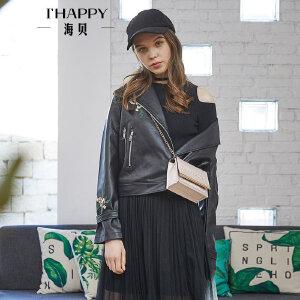 海贝2018春季新款女装 西装领长袖PU皮绣花短款黑色皮衣外套夹克