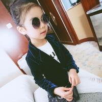 春装儿童外套春秋装新款韩版宝宝西服女孩金丝绒上衣时尚男童开衫