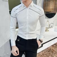春装新款男士韩版修身条纹点缀长袖衬衫潮流青年免烫休闲衬衣服