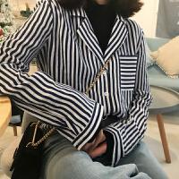 韩版春装女装复古撞色条纹衬衫chic风气质西装领长袖衬衬衣上衣女
