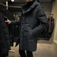 羽绒服男冬季2018新款韩版潮流修身男装外套男士中长款连帽羽绒衣