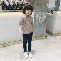 儿童条纹毛衣2018秋冬装新款韩版女童中大童半高领洋气细条针织衫
