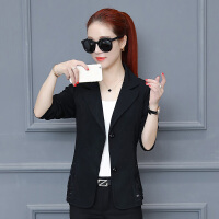 2018春秋新款韩版修身小西装女外套大码女装时尚百搭短款上衣 黑色 3X