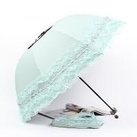 新款雨伞女花边太阳伞折叠蕾丝遮阳伞黑胶防晒防紫外线晴雨两用